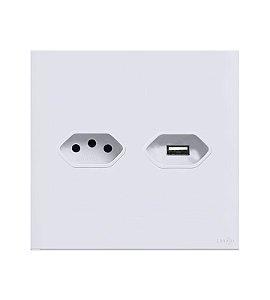 Tomada de 10A  c\ Carregador USB 2A Branca Lumenx Linha Glass 4x4