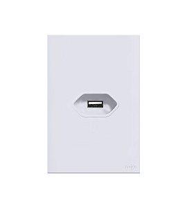 Tomada  USB 2A Branca Lumenx Linha Glass 4x2