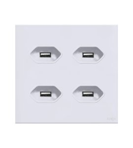 Tomada  c\ 4 módulo USB 2A Branca Lumenx Linha Glass 4x2