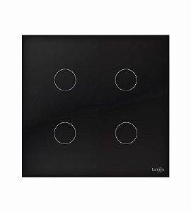 Interruptor Touch 4 Teclas Preto Lumenx Linha Glass 4x4
