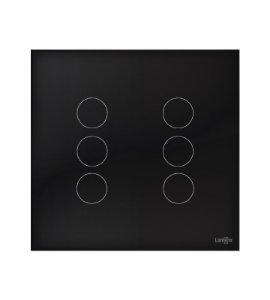 Interruptor Touch 6 Teclsa Preto Lumenx Linha Glass 4x4