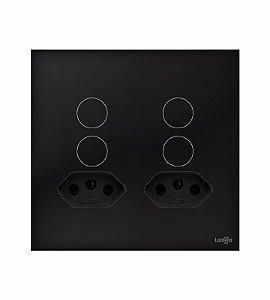 Interruptor Touch 4 Tecla Preto c\ 2 Tomadas 20A Lumenx Linha Glass 4x2