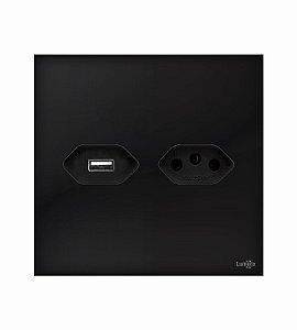Tomada 10A c\ carregador USB 5v preto Lumenx Linha Glass 4x4