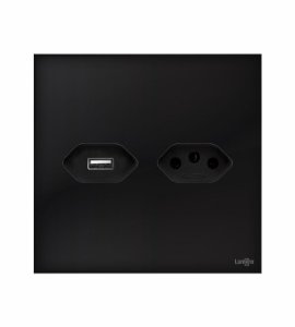 Tomada 20A c\ carregador USB 5v preto Lumenx Linha Glass 4x4