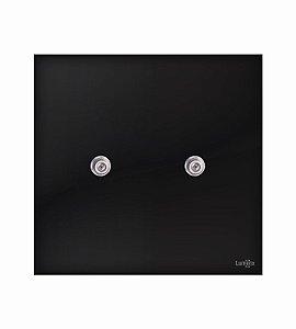 Tomada Coaxial Dupla p\ Antena Preto Lumenx Linha Glass 4x4