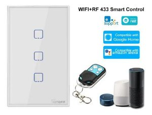 Interruptor Sonoff Touch Wifi + RF 433 3 teclas Branco [T2US3C-TX] - 4x2