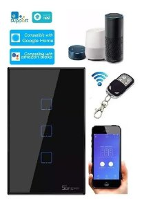 Interruptor Touch Sonoff Wifi RF 433 3 teclas Preto [T3US3C-TX] - 4x2