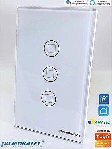 Interruptor Touch Led 3 Botões Rf433 Wi-Fi Google Home NOVA DIGITAL