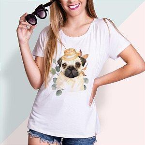 T-SHIRT FEMININA ILUSTRADA DOG PUG 2