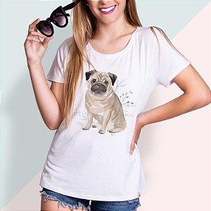 T-SHIRT FEMININA ILUSTRADA DOG PUG 3