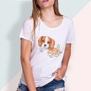 T-SHIRT FEMININA ILUSTRADA DOG CAVALIER KING
