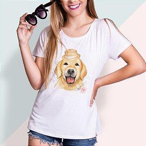 T-SHIRT FEMININA ILUSTRADA DOG GOLDEN