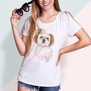 T-SHIRT FEMININA ILUSTRADA DOG SHIH TZU