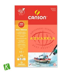 Bloco Papel Para Aquarela Canson Mix Media A4 300g/m²