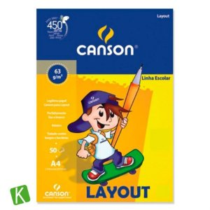 Bloco Papel Canson Lay Out A4 63g/m² 50 Folhas