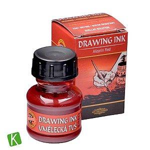Tinta Drawing Ink para Caligrafia Koh-I-Noor Vermelho Escuro 20g
