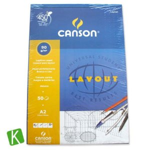 Bloco Papel Canson Layout A2 90g/m² 50 Folhas
