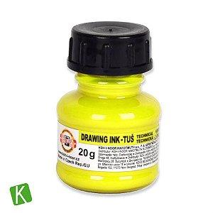 Tinta Drawing Ink para Caligrafia Koh-I-Noor Amarelo Fluorescente 20g