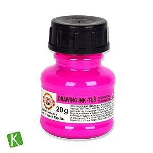 Tinta Drawing Ink para Caligrafia Koh-I-Noor Rosa Fluorescente 20g