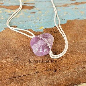 Colar aromático/ Difusor pessoal em Pedra Natural Rolada Ametista – Naturallice