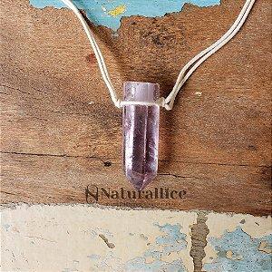 Colar Aromático/ Difusor pessoal em Pedra Natural em Ponta - Ametista (transparente) – Naturallice
