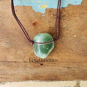 Colar Aromático/ Difusor Pessoal em Pedra Natural Rolada Quartzo Verde – Naturallice