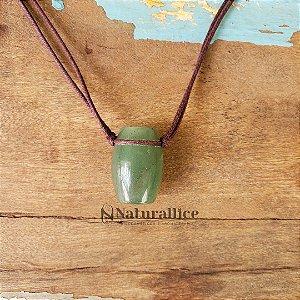 Colar Aromático/ Difusor Pessoal em Pedra Natural Tamborzinho Quartzo verde – Naturallice