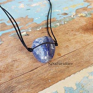 Colar aromático/ Difusor pessoal Pedra Rolada Quartzo Azul – Naturallice