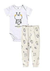 Conjunto Infantil Hering Monstro em Ribana Body Manga Curta e Calça Infantil 58EW
