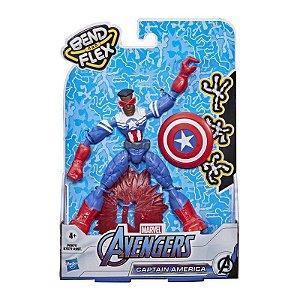 Boneco Bend e Flex Avengers Capitão América Falcão - Hasbro F0971