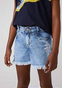 Shorts Infantil Hering Jeans Desfiado Perna e Lateral CABM