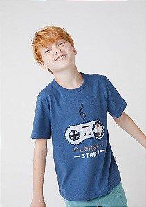 Camiseta Infantil Hering Azul Estampa Controle Video Game Player