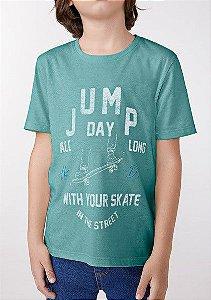 Camiseta Infantil Hering Verde Água Jump Day 5CR5/WHM