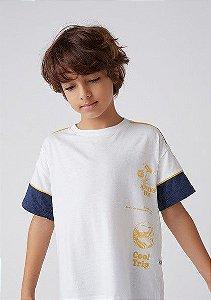 Camiseta Infantil Hering Off Manga Detalhe Azul Marinho 5D9V/NMC