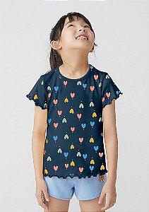 Camiseta Infantil Hering Ribana Preto Estampa Corações Coloridos