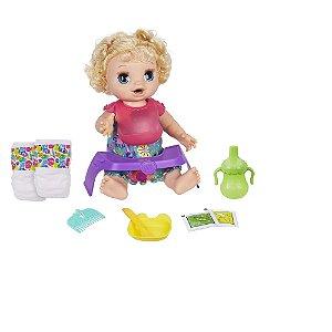 Boneca Baby Alive Bebê Faminta Comidinha Feliz Hasbro - Loira
