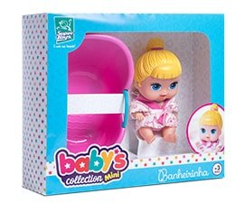 Boneca Babys Colletion Mini Com Banheira Surper Toys