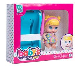 Boneca Babys Colletion Mini Com Bebê Conforto Surper Toys