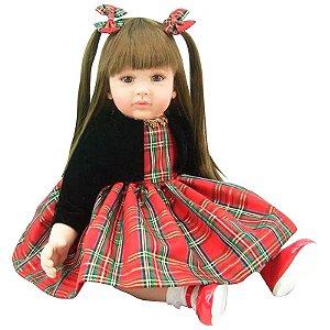Boneca Bebê Reborn Laura Doll Baby Vestido Red Chess - Menina
