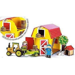 Brinquedo de Madeira Fazendinha Completa Celeiro 361