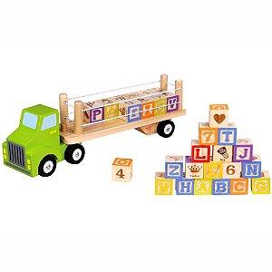 Caminhão Alfabeto e Números de Madeira - Tooky Toy