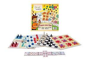 Jogo 5 em 1 - Dama, Trilha, Ludo, Jogo da Velha e Dominó - Fundamental Brinquedos