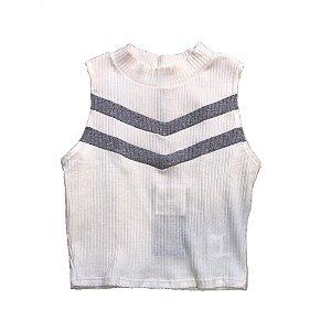 Blusa Cropped Infantil Feminino Authoria com Gola - Branca