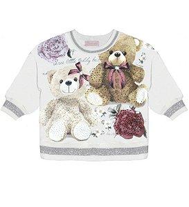 Blusa Moletom Ursos E Flores - Pituchinhu´s