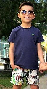Camiseta Infantil Básica Azul - Oliver