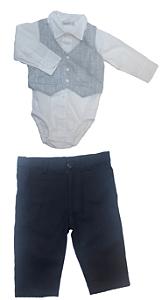 Conjunto de Bebê com Body, Colete e Calça Azul - roana