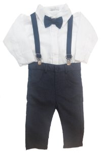 Conjunto de Bebê com Camisa, Gravata, Calça e Suspensório Azul - roana