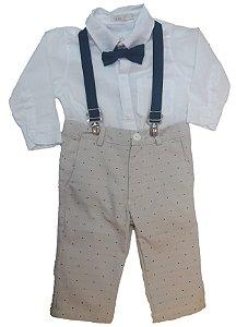 Conjunto de Bebê com Camisa, Gravata, Calça e Suspensório Bege - roana