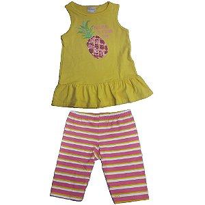 Conjunto Infantil Momi Blusa e Legging Abacaxi - Amarelo