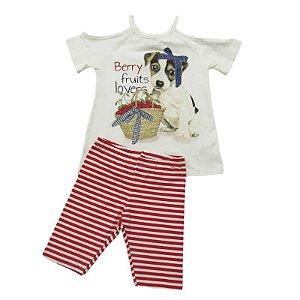 Conjunto Infantil Momi Blusa e Legging Dog Listrado - Vermelha